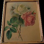 SOLD c1890s Roses Print Paul de Longpre Chromolithograph Rose Pink Flower Floral