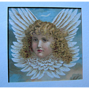 SOLD c1880s Cupid Chromolithograph Print Frame Fairy Cherub Angel