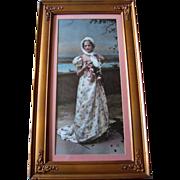 SOLD c1900 Lady Roses Print Ullmann Original Glass Frame Panel Yard Long Rose Antique