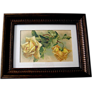 SOLD c1890s Cabbage Roses Print Catherine Klein Chromolithograph Rose Flower Floral