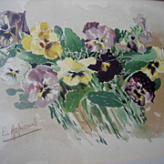 Antique Pansies Print c1890s Chromolithograph Aspinwall Pansy Flower Floral Victorian