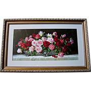 SOLD Roses Print Half Yard Long Gold Frame
