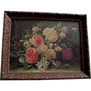 SOLD ROSES Print Jean Baptiste Robie Vintage Bee Bird Flower Floral - Red Tag Sale Item