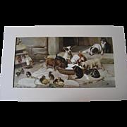 SOLD HOLD for S Rowan Trood Five O Clock Tea Home Sweet Home Yard Long Print Chromolithograph