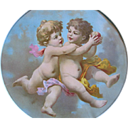SOLD c1890s CUPID Print Chromolithograph Apple Cupids Fairy Angel Cherub Framed