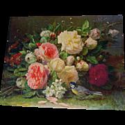 SOLD 2 Roses Print s Jean Baptiste Robie Crafting Repurposing 16 x 20 Rose Flower Raspberry Cu