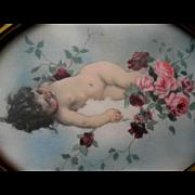 SOLD CUPID Pink Roses Print Vintage Gesso Frame Tojetti Angel Cherub