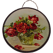 SOLD c1890s Catherine Klein Scarlet Cabbage Roses Flue Cover Chromolithograph