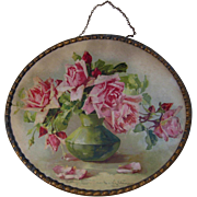 SOLD c1890s Catherine Klein Pink Cabbage Roses Flue Cover Chromolithograph