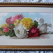 c1895 Chrysanthemums Print Paul de Longpre Fall Beauties Half Yard Long Chromolithograph Flowe