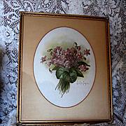 c1890s Paul de Longpre Double Violets Nosegay Print Original Glass Frame Chromolithograph