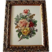 SOLD c1890s Die Cut Roses Violets Print Chromolithograph
