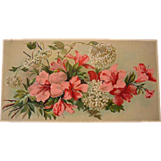 SOLD c1890s Azaleas and Snowball Hydrangeas Half Yard Long Chromolithograph Hydrangea Flower F