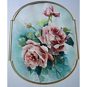 SOLD Pink Roses Watercolor Painting after Catherine Klein All Original Rose Flower Floral Gold