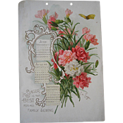 SOLD c1894 Paul de Longpre Singer Sewing Calendar Print Carnations Butterfly Gold Chromolithog