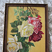c1890s Cabbage Roses Oil on Canvas Painting after Paul de Longpre Rose Flower Antique Victoria