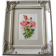 SOLD c1890s Catherine Klein Pink Cabbage Roses Print Chromolithograph Antique Victorian Rose