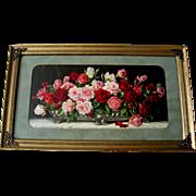 SOLD c1920 Tea Roses Print Half Yard Long Vintage Frame Cabbage Rose