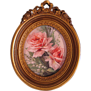 SOLD Roses French Ribbon Bow Barbola Frame Homco Syroco