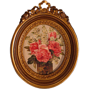 SOLD Roses French Ribbon Bow Barbola Frame Homco Vintage