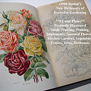 C1900 Beetons Dictionary of Every Day Gardening Book Horticulture Eight Color Plates Roses Gar