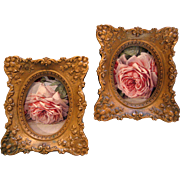 SOLD Two Roses Convex Glass Frame s Cameo Creation Ornate