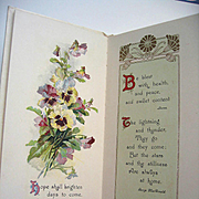 c1910 Catherine Klein Illustrated Victorian Gift Book Pleasant Thoughts Roses Pansies Birds Gi