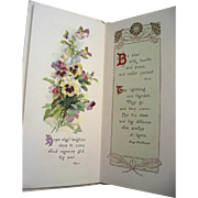 c1910 Catherine Klein Illustrated Victorian Gift Book Pleasant Thoughts Roses Pansies Birds ..