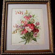 SOLD c1897 Sweet Peas Print Paul de Longpre Chromolithograph Antique Victorian Flower Floral