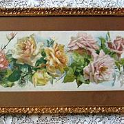 c1895 Catherine Klein Cabbage Roses Yard Long Print A Shower of Roses Original Frame Glass Int