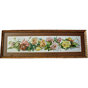 c1895 Catherine Klein Cabbage Roses Yard Long Print A Shower of Roses Original Frame Glass ...