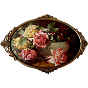 SOLD Cabbage Roses Print V Dangon Antique Brass Frame Convex Glass