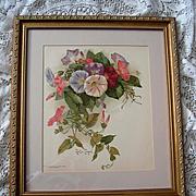 c1897 Morning Glories Print Paul de Longpre Chromolithograph Antique Victorian Flower Floral