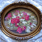 Cabbage Roses Lilacs Print Raoul de Longpre Fancy Oval Barbola Rose Frame