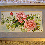 c1890s Catherine Klein Pink Cabbage Roses Hydrangeas Print Half Yard Long Chromolithograph Ant