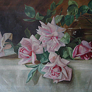 C1890 Pink Cabbage Roses Oil Canvas Painting Rose Bowl Patty Thum