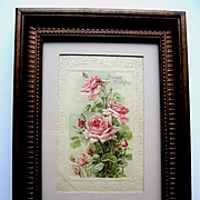 c1890s Catherine Klein Pink Cabbage Roses Print Chromolithograph Rose Flower Card