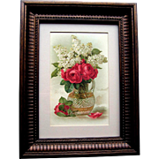 SOLD c1890's Paul de Longpre Cabbage Roses Lilacs Faceted Vase Chromolithograph Print Card Ros