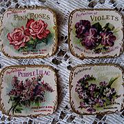 4 c1890s Bailey Perfume Label s Rose Violet Lilacs Heliotrope Chromolithograph Gilt