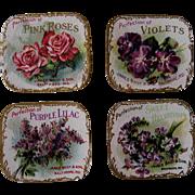 SOLD 4 c1890s Bailey Perfume Label s Rose Violet Lilacs Heliotrope Chromolithograph Gilt