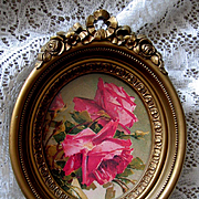 Barbola Roses Ribbon Frame Gold Vintage Homco Syroco