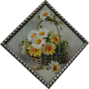 SOLD c1890s Catherine Klein Daisy Flue Cover Chromolithograph Original Frame Old Glass Flower