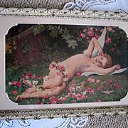 c1902 French Cupid Print Lenoir The Awakening of Love Fairy Angel Cherub Roses Antique Victori