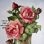 c1890s Die Cut Pink Roses My Hearts Gift Chromolithograph Rose Valentine Rosebuds