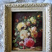Cabbage Roses Print Vintage Jean Baptiste Robie Gesso Frame
