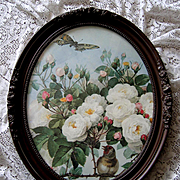 Vintage French Bridal Roses Butterfly Bird Print Paul de Longpre Barbola Rose Frame Bride Rose