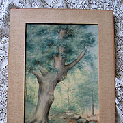 Victorian Watercolor Painting Tree River Water Landscape Still Life