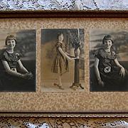 Girl Yard Long Photograph Print s Fashion Clothing Original Frame Old Glass