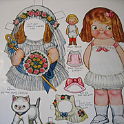 c1916 Dolly Dingle Paper Doll Print Set with Doll and Kitten Uncut Queen of the May Roses Brid