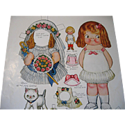 c1916 Dolly Dingle Paper Doll Print Set with Doll and Kitten Uncut Queen of the ...